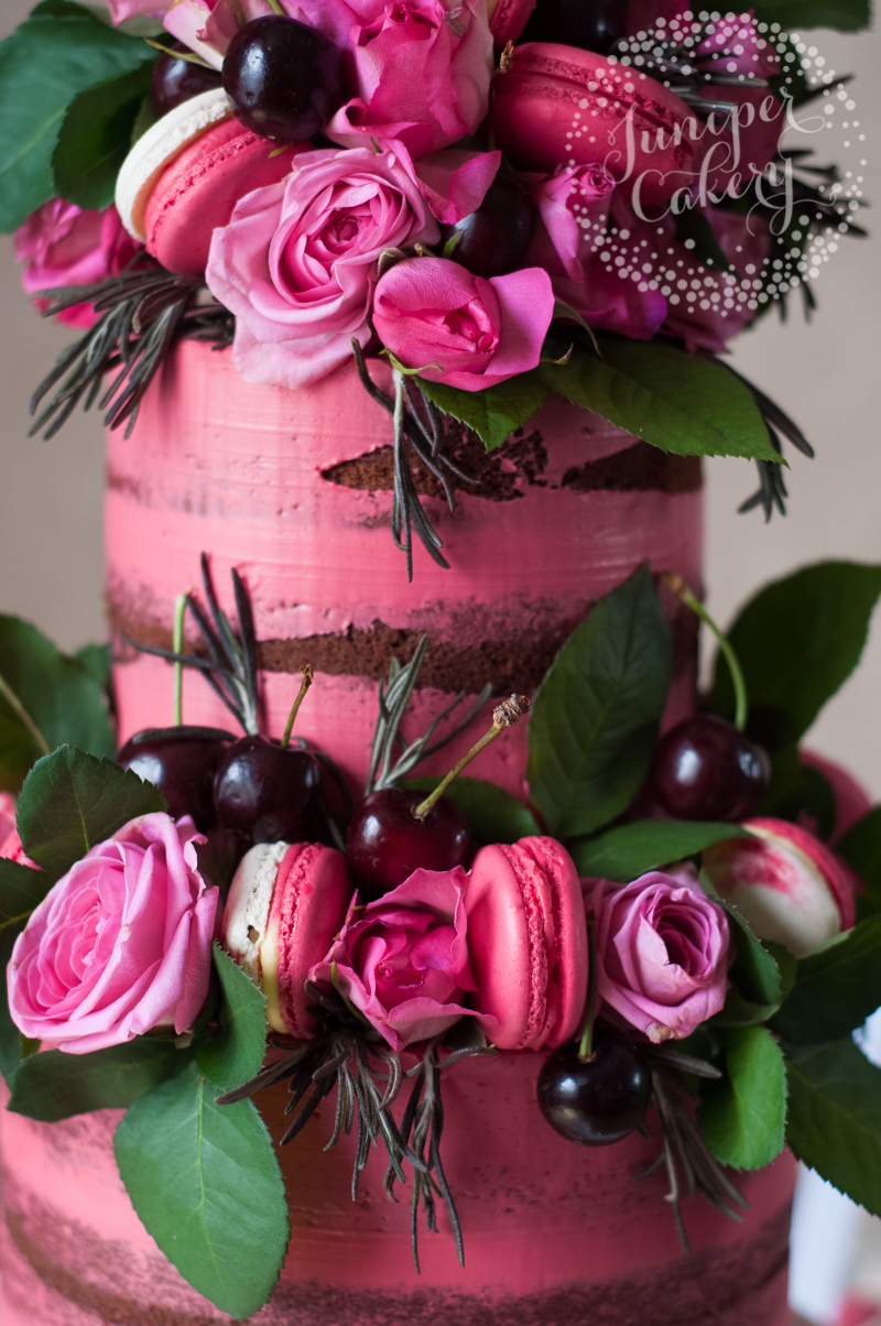Pink cherry and chocolate naked cake by Juniper Cakery
