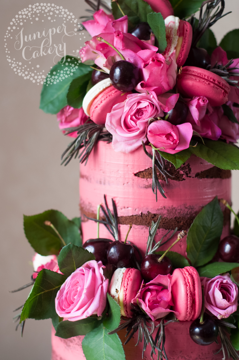 Bright pink Black Forest Gateau naked cake by Juniper Cakery