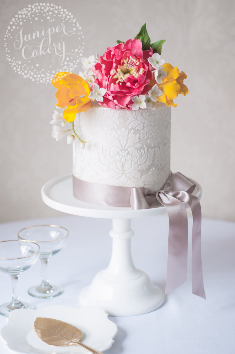 Damask tulip and peony cake by Juniper Cakery