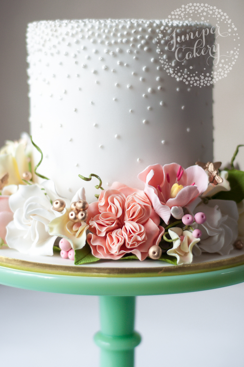 Pretty Pearl Studded Cake With Sugar Flower Crown By Juniper Cakery