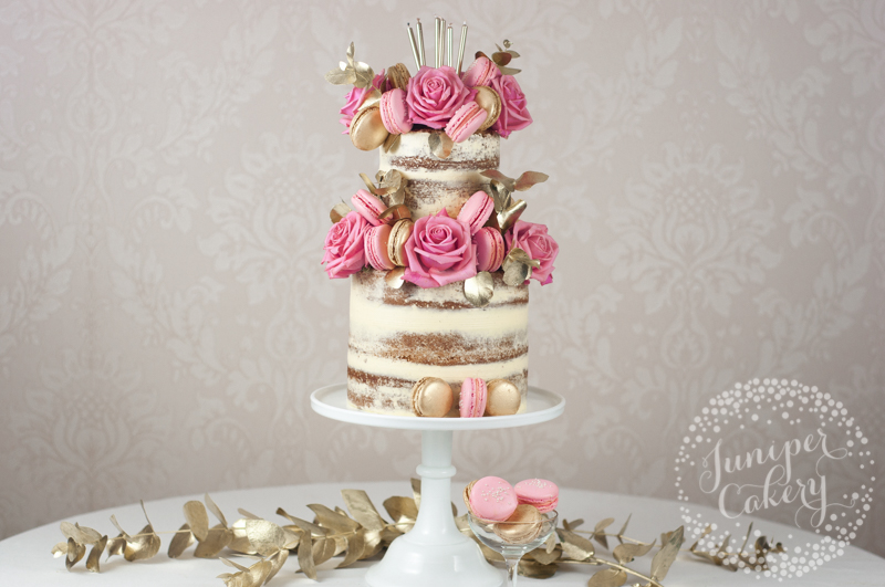 Pink And Gold Macaron Studded Naked Birthday Cake
