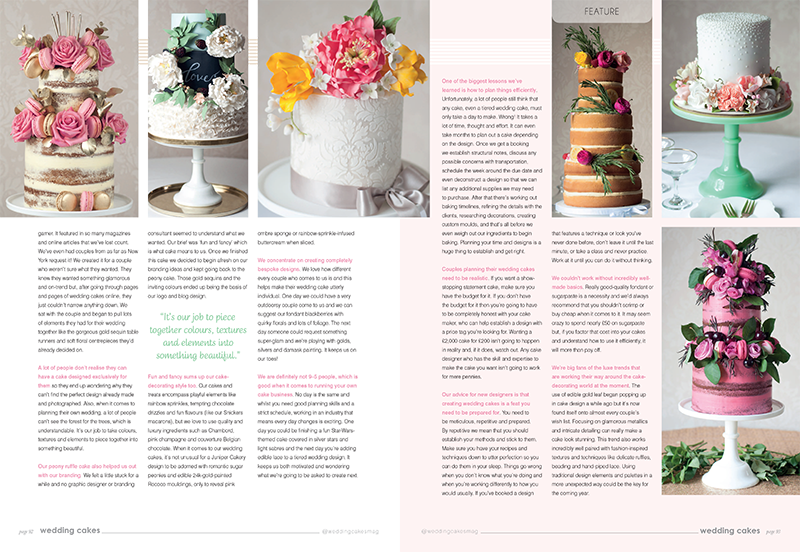 Exclusive Juniper Cakery interview in Wedding Cakes Magazine