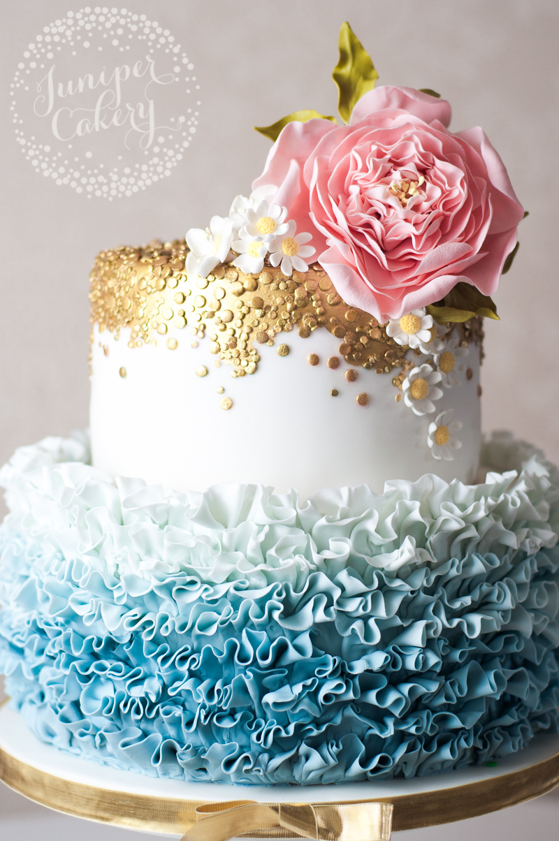 Gorgeous ombré ruffle wedding cake by Juniper Cakery