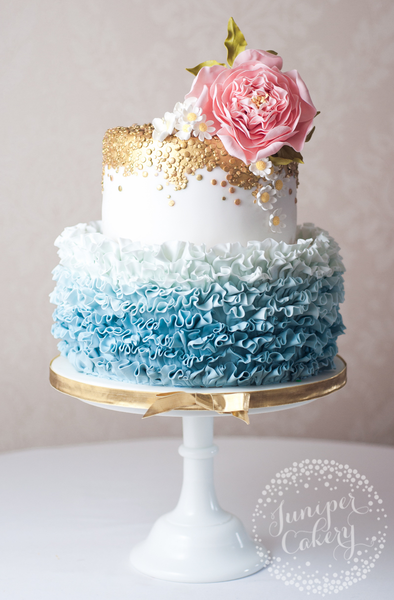 Pretty ruffled wedding cake by Juniper Cakery
