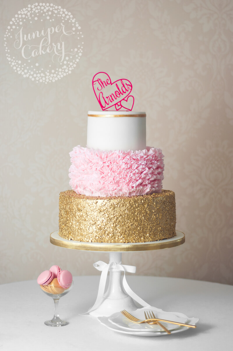 Glamorous Pink Ruffle and Gold Sequin Wedding Cake!