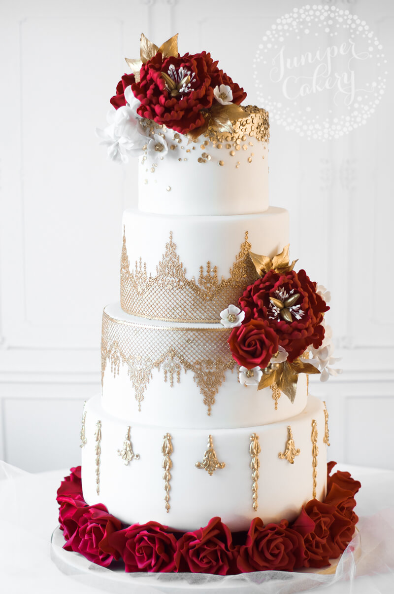 red and gold wedding cake peony and wisteria wedding cake 19076