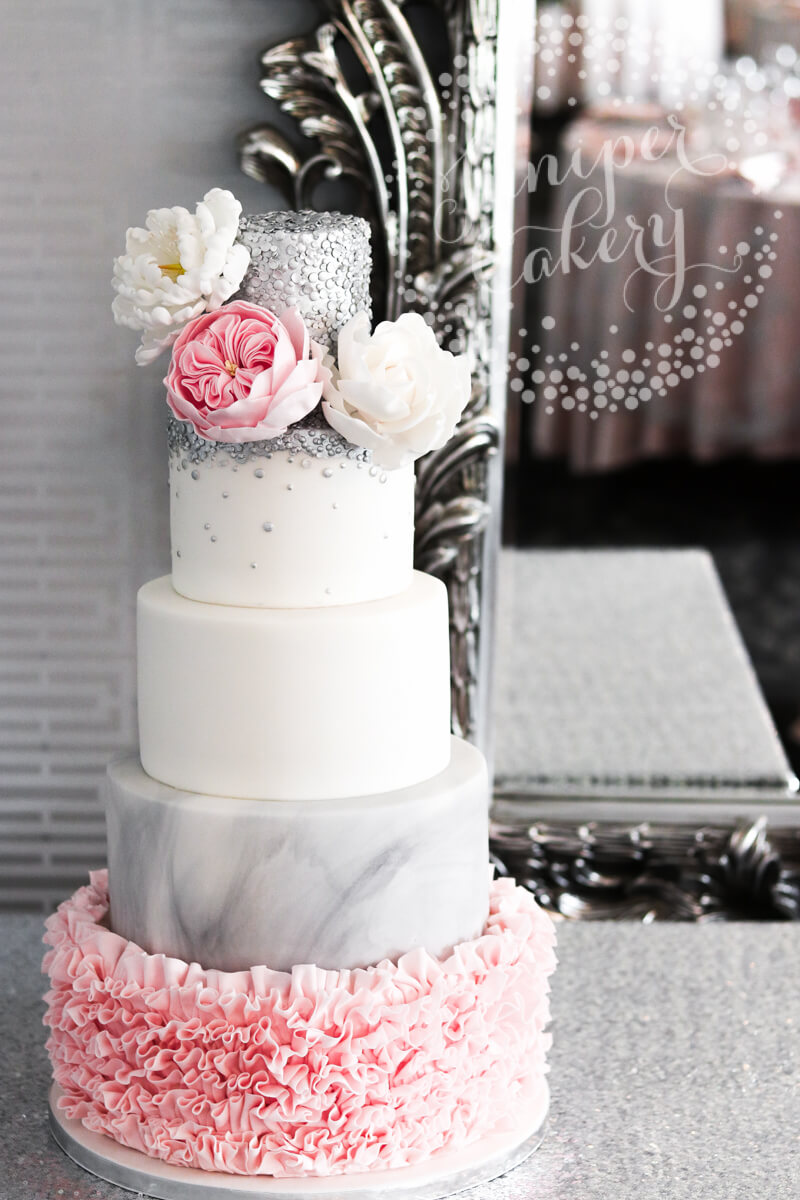 Chic Pink Ruffle And Silver Sequin Wedding Cake
