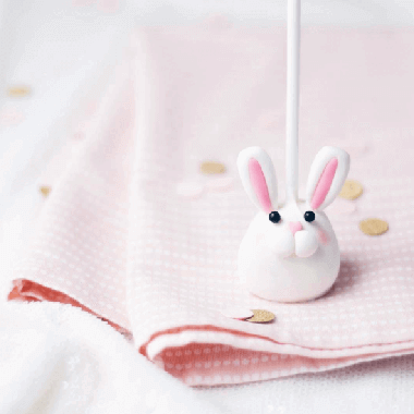 Cute bunny rabbit cake pop by Juniper Cakery