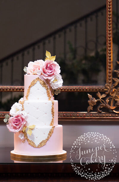Rose Garden Rococo Wedding Cake at Saltmarshe Hall by Juniper Cakery
