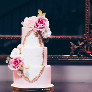 Blush rose Rococo wedding cake by Juniper Cakery