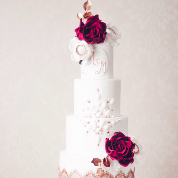 Jewelled wedding cake by Juniper Cakery