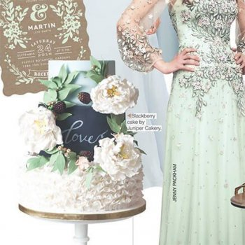 Mint country wedding cake by Juniper Cakery