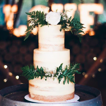 Rustic semi-naked wedding cake by Juniper Cakery