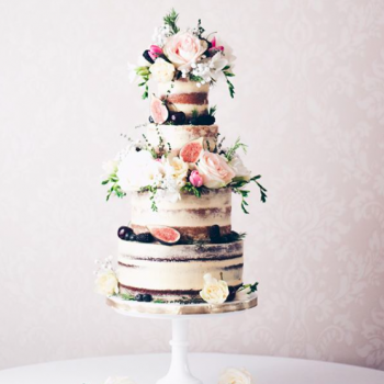Wild country garden inspired semi-naked wedding cake