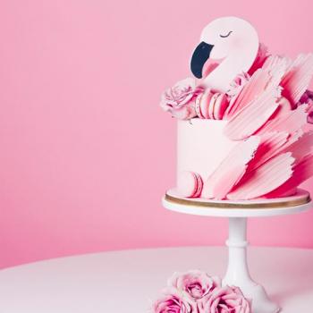 Pink flamingo birthday cake by Juniper Cakery