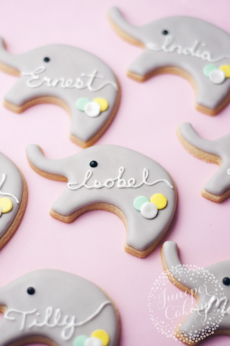 Elephant party cookies by Juniper Cakery