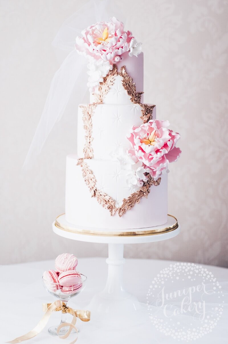 Pretty Rococo wedding cake by Juniper Cakery