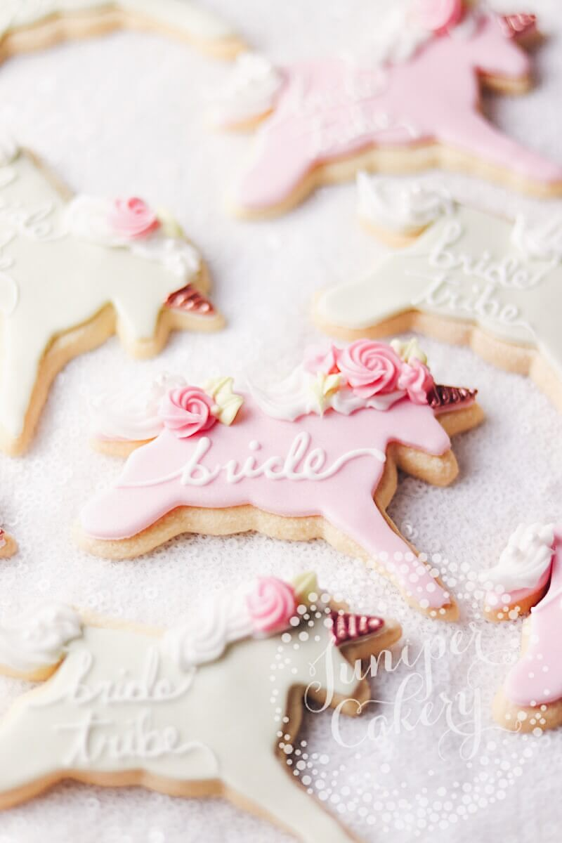 Bride Tribe Unicorn cookies by Juniper Cakery