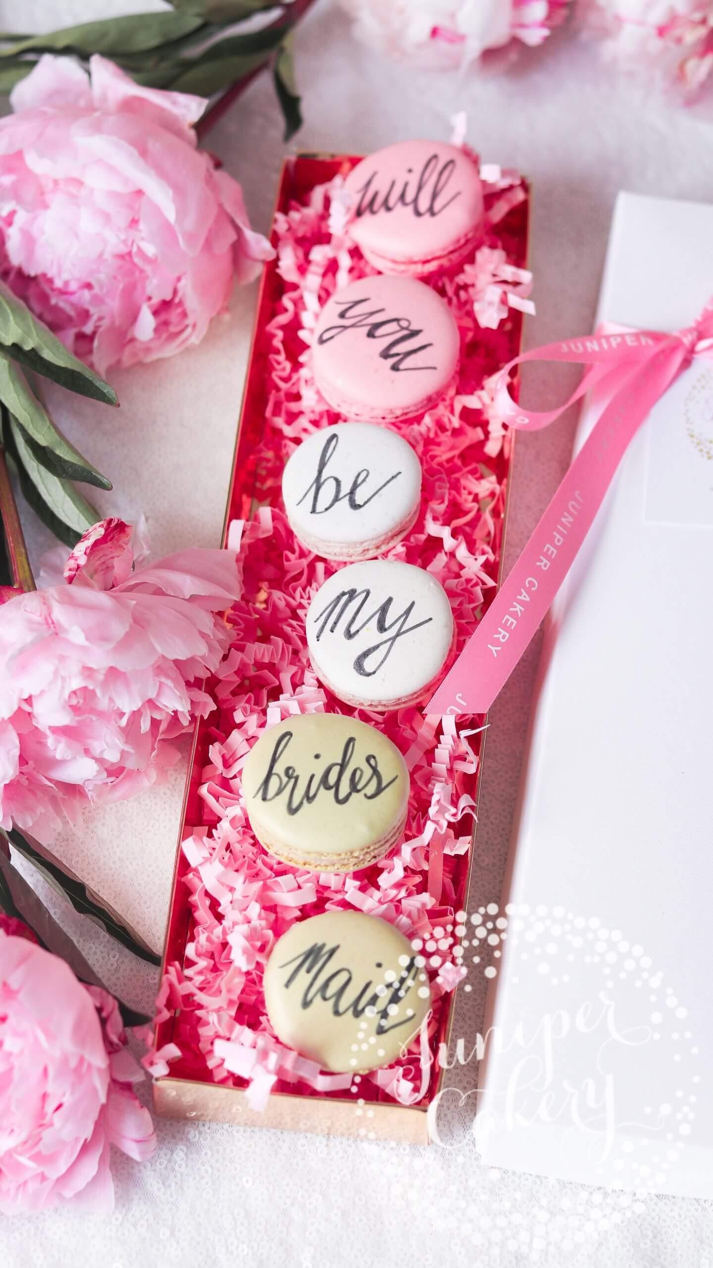 Bridesmaid Proposal Macarons by Juniper Cakery