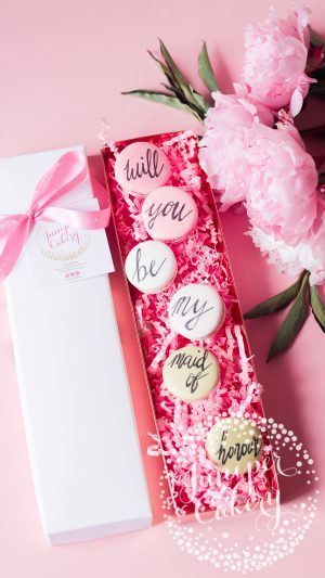 Maid of Honour Proposal Macarons by Juniper Cakery
