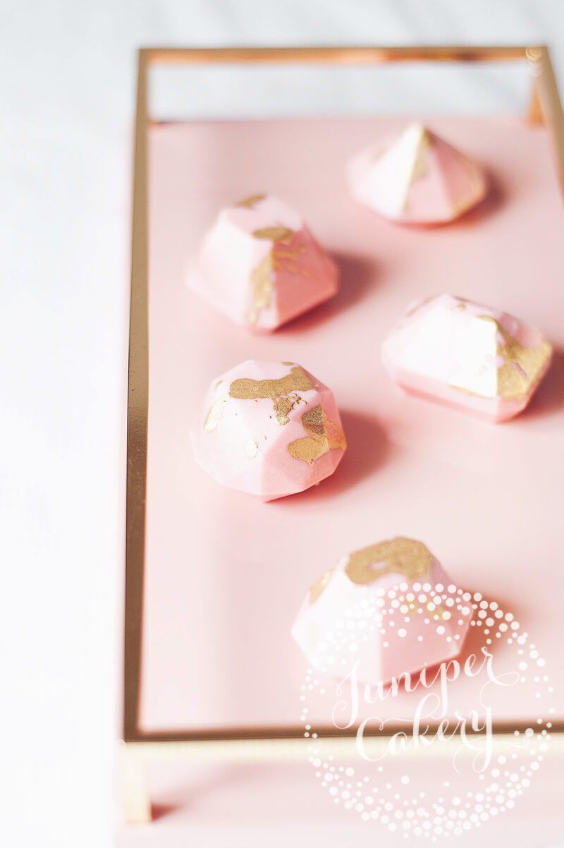 Blush pink chocolate jewels by Juniper Cakery