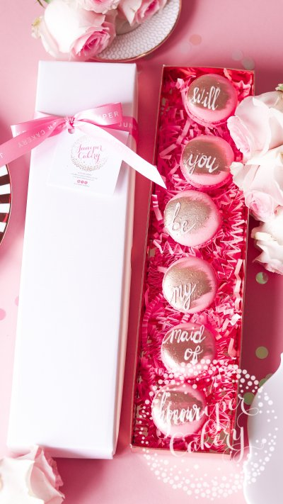 Chic Maid of Honour proposal macarons by Juniper Cakery