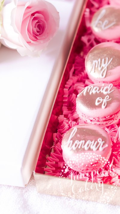 Pretty Maid of Honour proposal macarons by Juniper Cakery