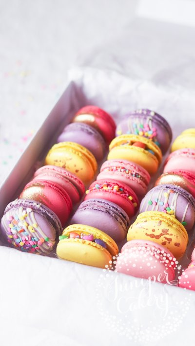 Bright unicorn macarons by Juniper Cakery