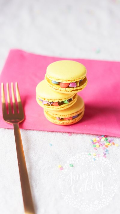 Fun unicorn macarons by Juniper Cakery