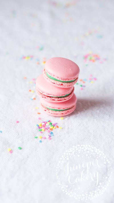 Unicorn macaron gift box via Juniper Cakery