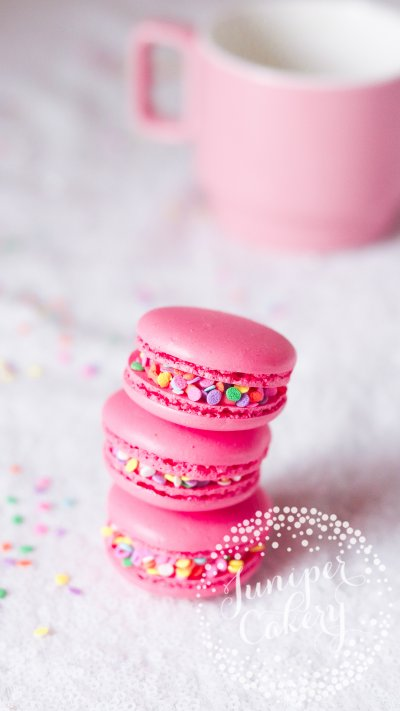 Pink rainbow unicorn macarons by Juniper Cakery