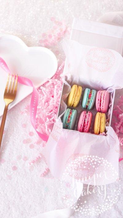 Small birthday macaron gift box by Juniper Cakery