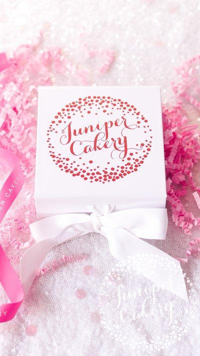 Bright birthday macaron gift box from Juniper Cakery