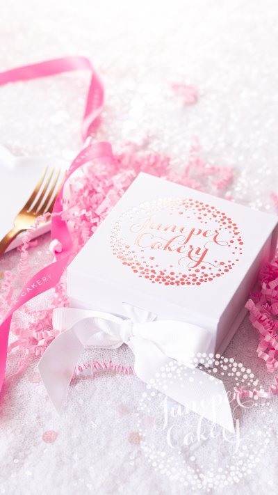 Fun birthday macaron gift box by Juniper Cakery