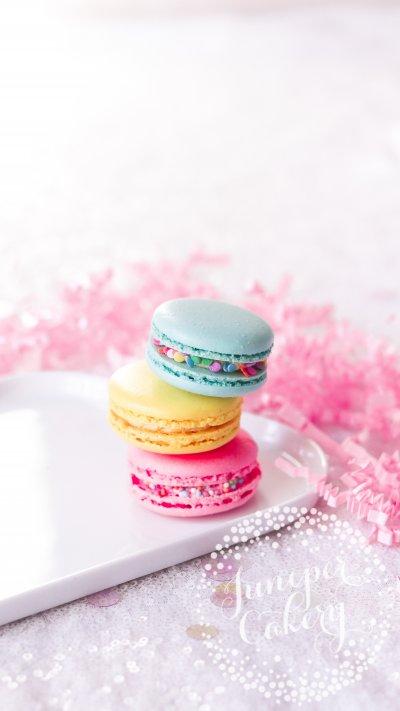 Bright birthday macaron gift box by Juniper Cakery