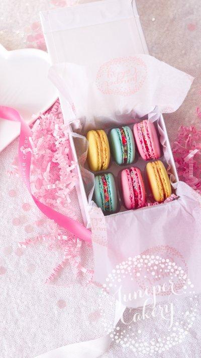 Bright birthday macaron gift box via Juniper Cakery