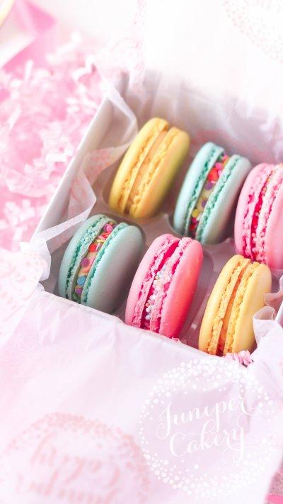 Small birthday macaron gift box via Juniper Cakery