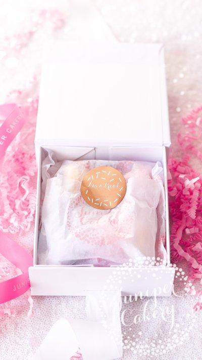 Fun birthday macaron gift box via Juniper Cakery