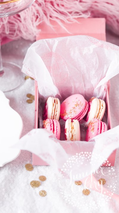 Rose macaron gift box by Juniper Cakery