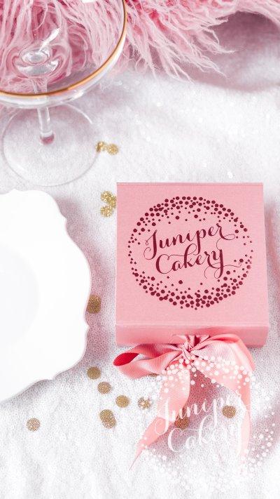 Rose gold macaron gift box from Juniper Cakery