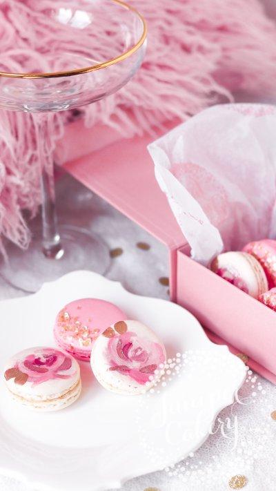 Rose gold macaron gift box via Juniper Cakery
