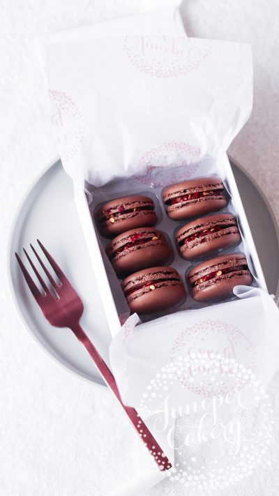 Chilli chocolate macarons from Juniper Cakery