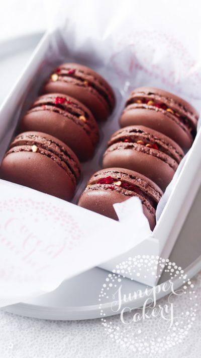 Chilli chocolate macaron gift box via Juniper Cakery