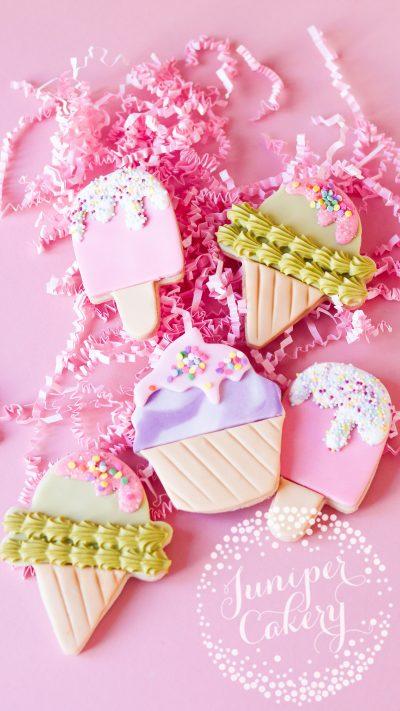 Cute ice cream cookies by Juniper Cakery