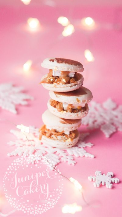Biscoff s'mores macaron baubles by Juniper Cakery