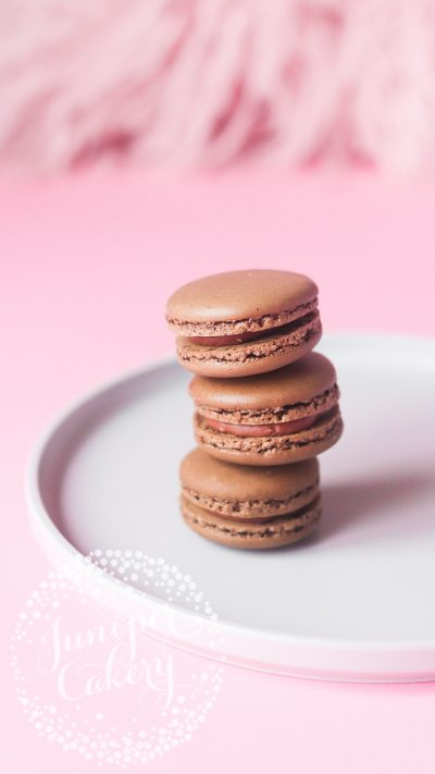 Belgian chocolate macarons by Juniper Cakery