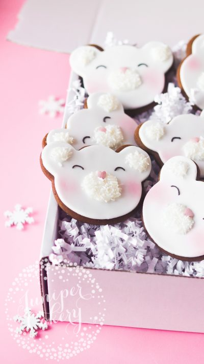 Sweet polar bear cookies by Juniper Cakery