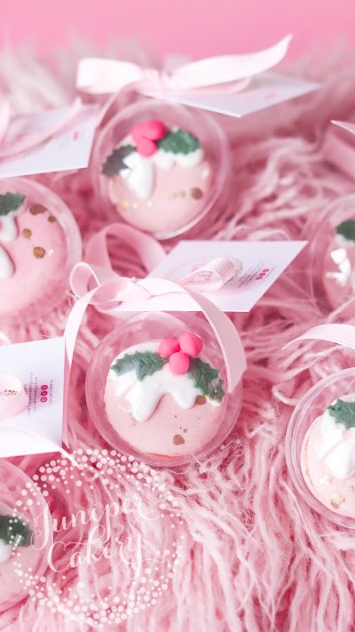 Pink Christmas Pudding Macaron Baubles by Juniper Cakery