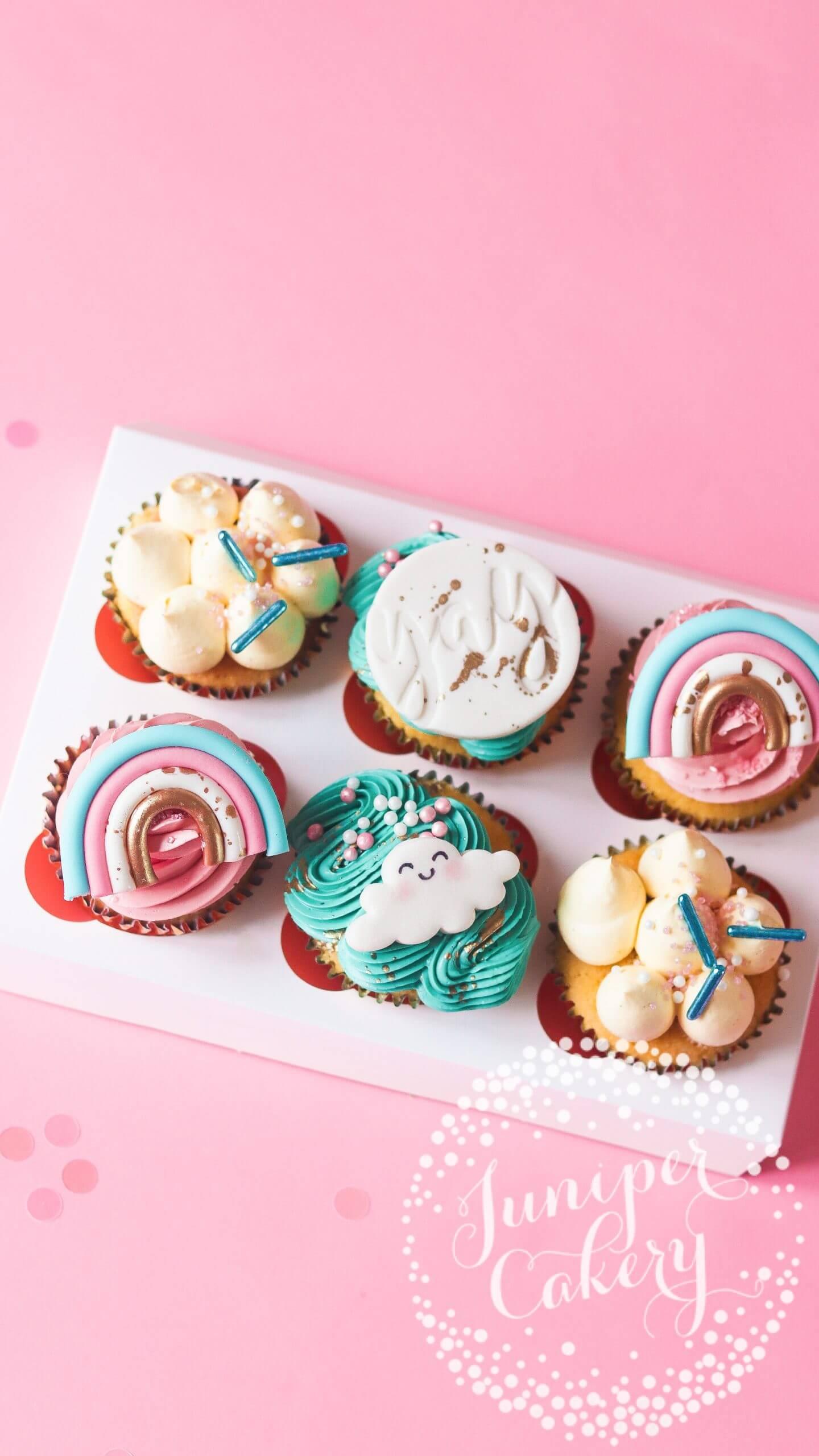 Rainbow Themed Cupcakes by Juniper Cakery